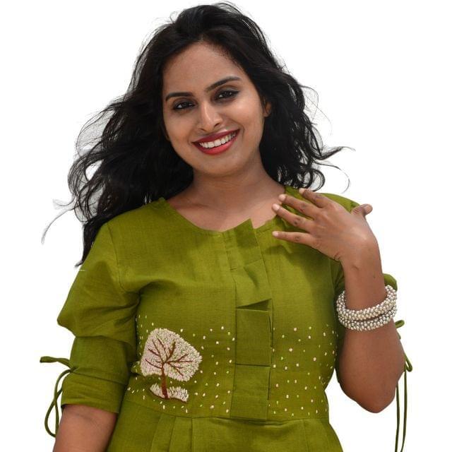 Khadi Cotton - Tree of Life Dress - Olive Green