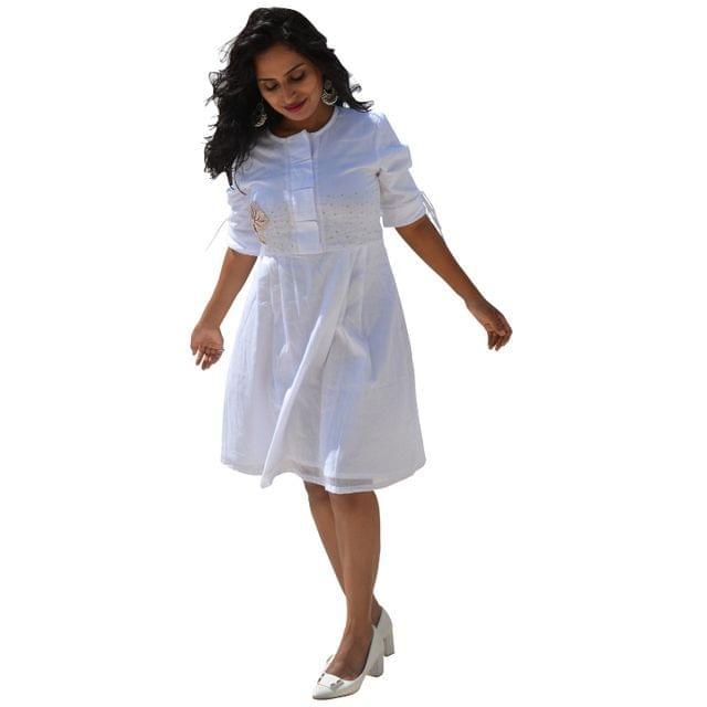 Khadi Cotton - Tree of Life Dress - White