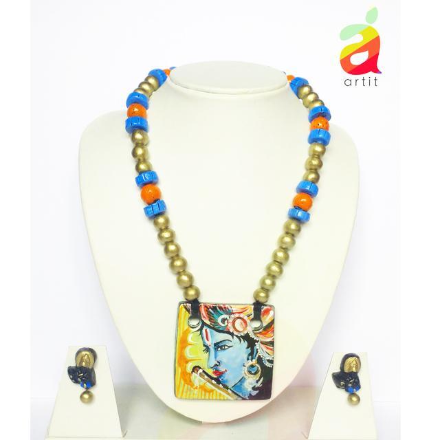 Square Krishna Terracotta Jewelry Set