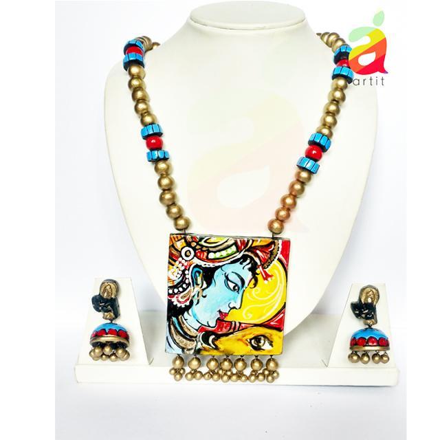 Krishna Portrait Terracotta Jewelry Set