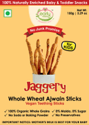 Organic Whole Wheat Ajwain Jaggery Teething Sticks - 150 gms