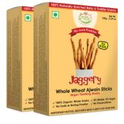 Organic Whole Wheat Ajwain Jaggery Teething Sticks - 150 gms (Pack of 2)