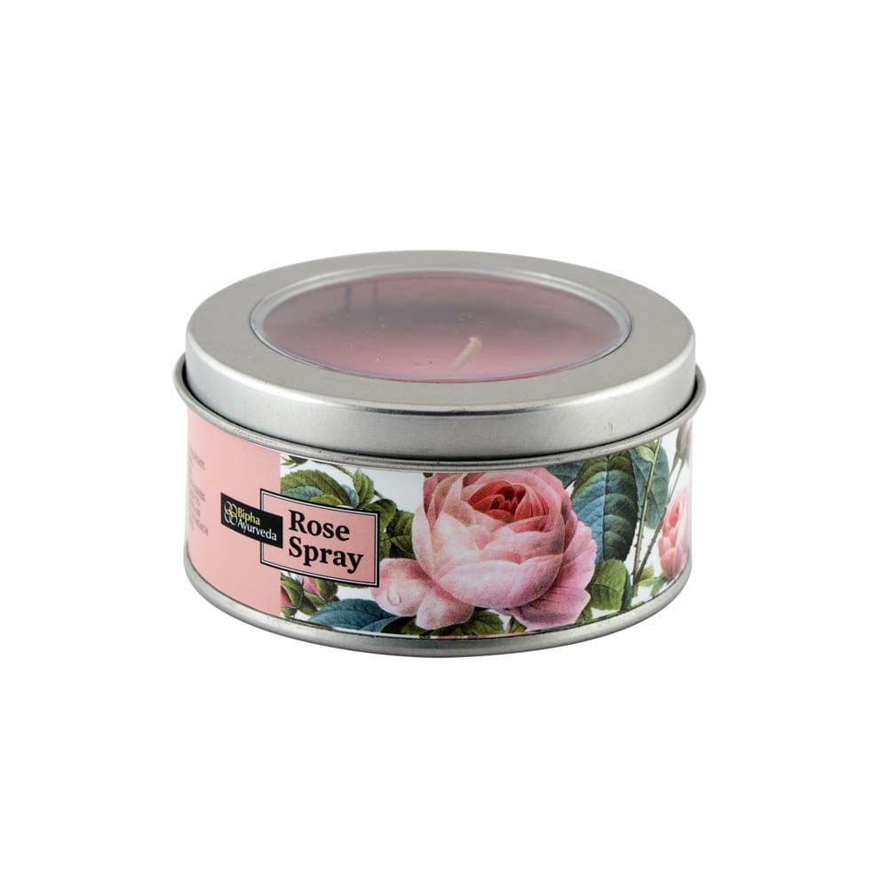 Rose Spray Tin Candles