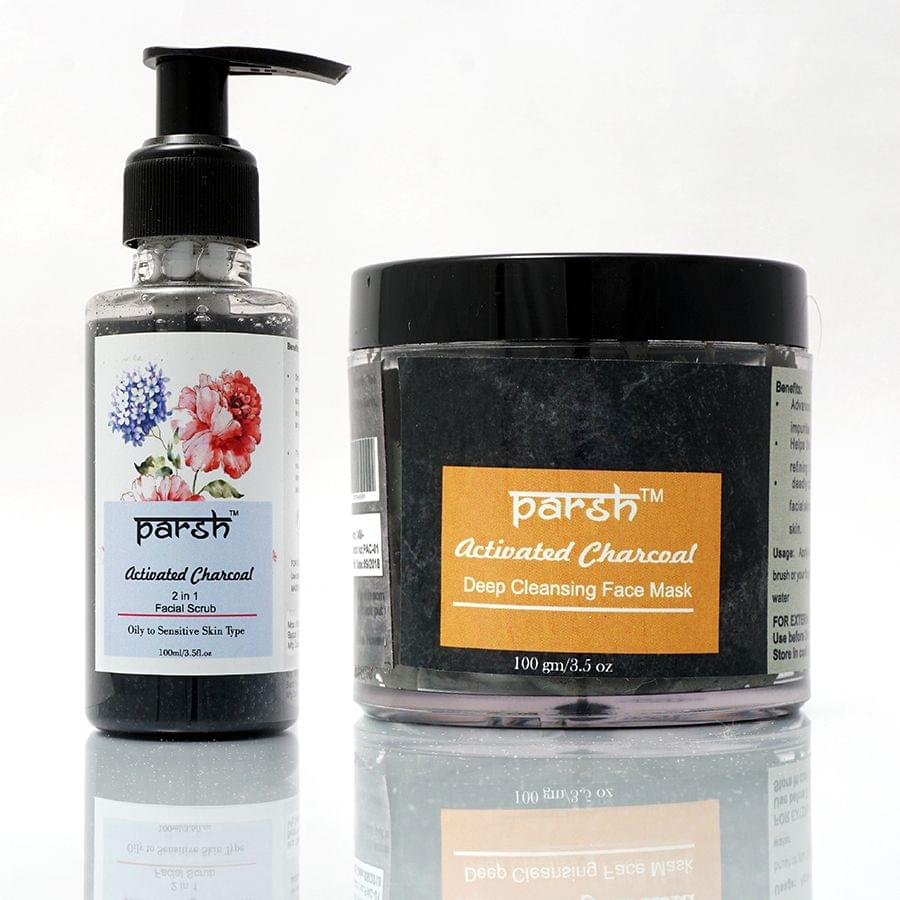 Combo for Activated Charcoal Face Mask & Facial Scrub