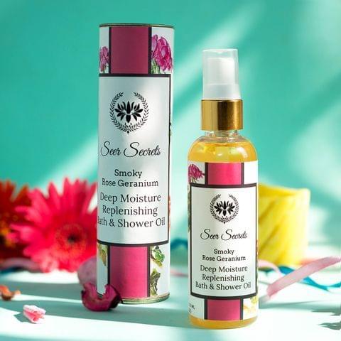 Smoky Rose Geranium Deep Moisture Replenishing Bath & Shower Oil - 100 ml