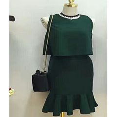 Melange Green Two Piece Crop Tshirt with Ruffle Skirt For Women