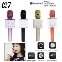 Wireless Q7 Karaoke Microphone, Portable Handheld Bluetooth Condenser Microphone