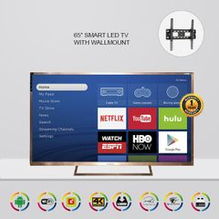 Technos 65″ LED 4K SMART TV with Wallmount