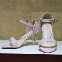 Ankle Strap Transparent Heels For Women