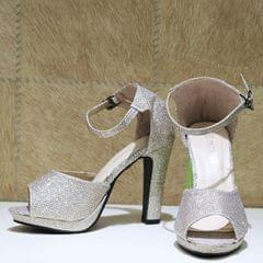 Silver Shimmery Ankle Strap High Heels For Women
