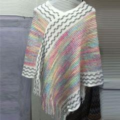 Melange Multi-Color Shimmery Side Lace Poncho For Women