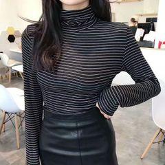 Melange High Neck Stripes Tshirt