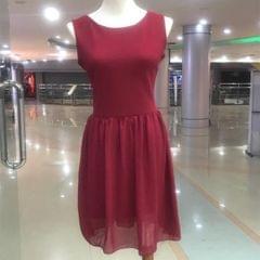 Melange Maroon Sleeveless Skirt For Women