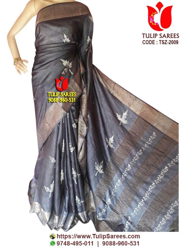 Tussar Silk   with Zari Border