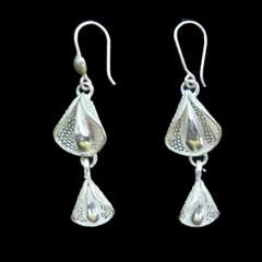 Duo Bud Drop Silver Filigree Earrings
