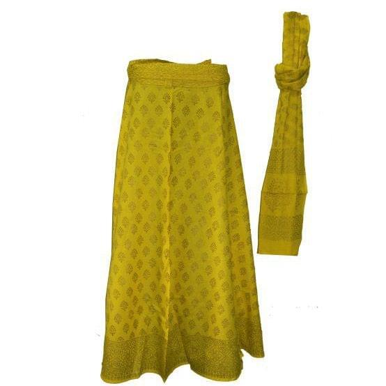 Yellow Golden Long Wrap Skirt with Dupatta