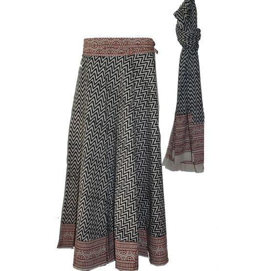 Black Brown Long Wrap Skirt with Dupatta