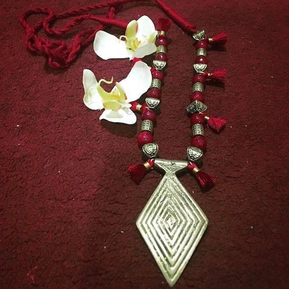 Dhokra Diamond Shape Neckpiece