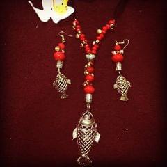 Dhokra Fish Neckpiece & Earrings