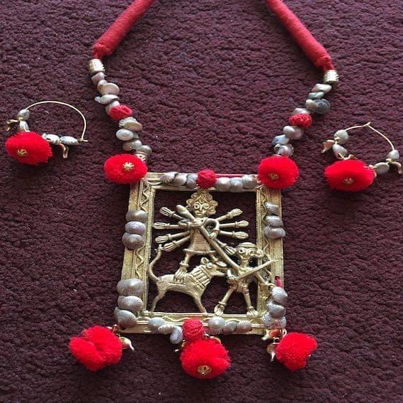 Dhokra Maa Kaali Neckpiece & Earrings