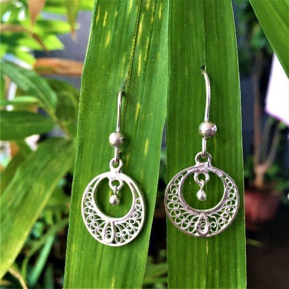 Silver FIligree Teeny Moon Drop Earrings