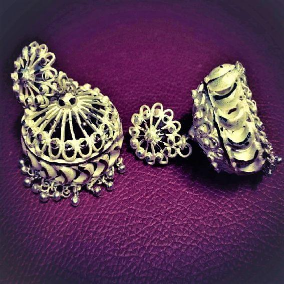 Silver Filigree Traditional Cutting Jhumki