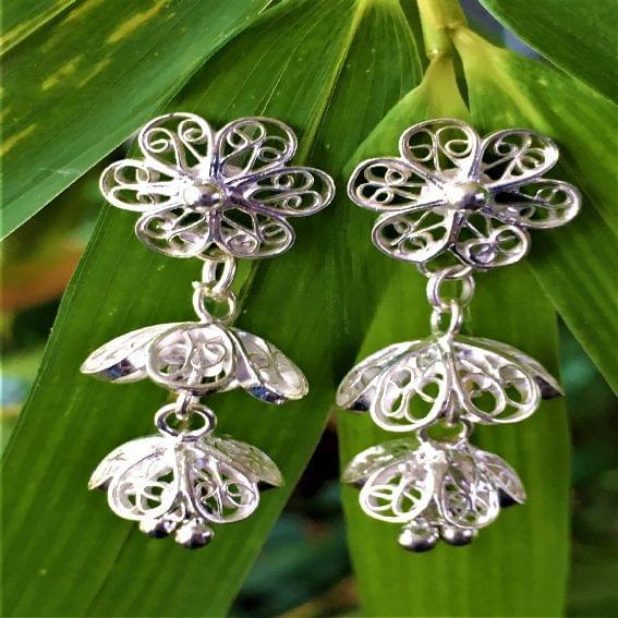 Silver Filigree Teeny Double Jhumki