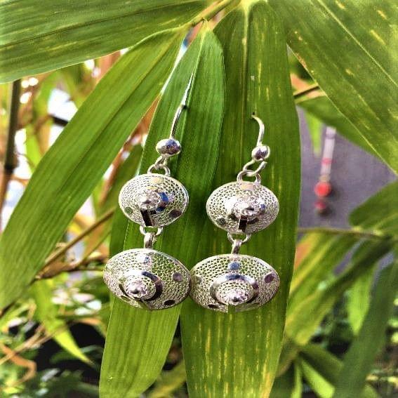 Silver Filigree Double Cone Earrings