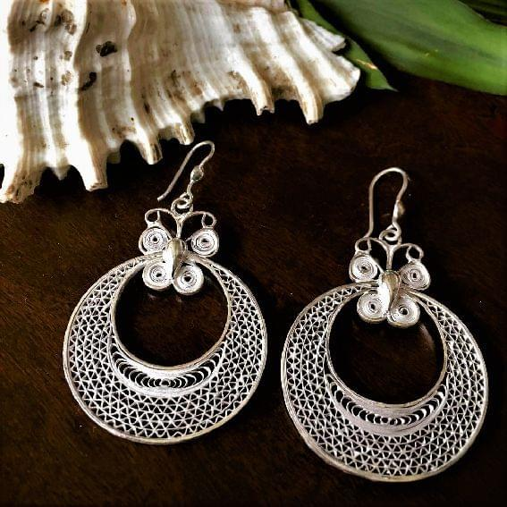 Silver Filigree Moon Butterfly Earrings
