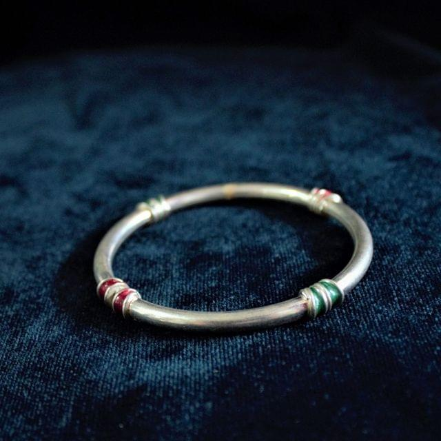 Silver Meena Plain Bangle