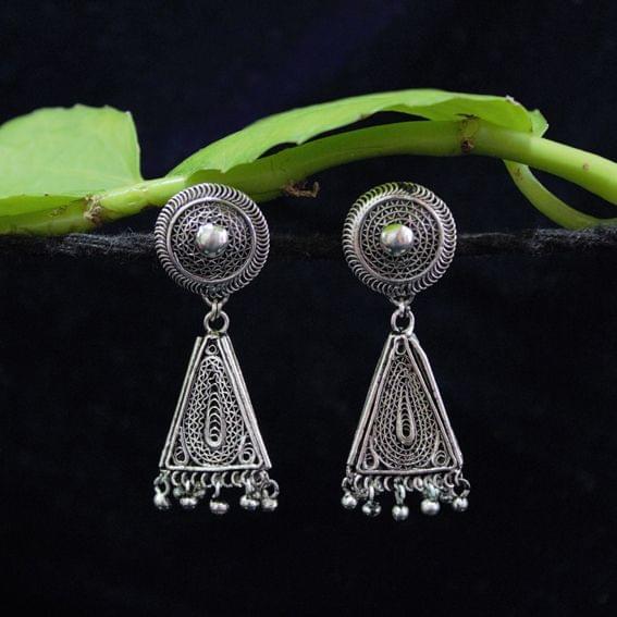 Oxidised Silver Filigree Triangle Design Tops Jhumki