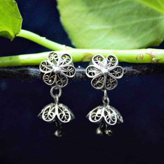 Oxidised Silver Filigree Tops Floral Jhumki