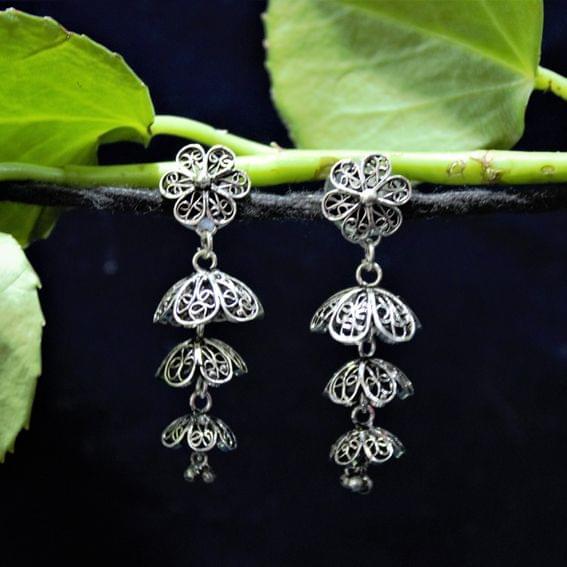 Oxidised Silver Filigree Tri Floral Jhumki