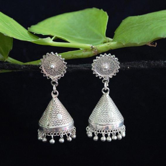 Silver Filigree Tops Cone Jhumki Small