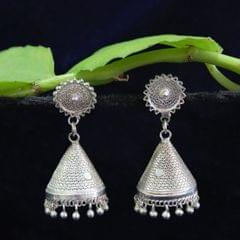 Silver Filigree Tops Cone Jhumki Medium