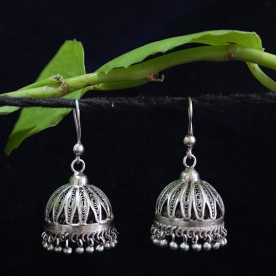 Silver Filigree Jhumki Medium