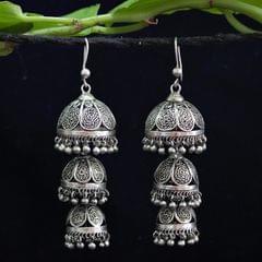 Oxidised Silver Filigree Tri Petal Jhumki
