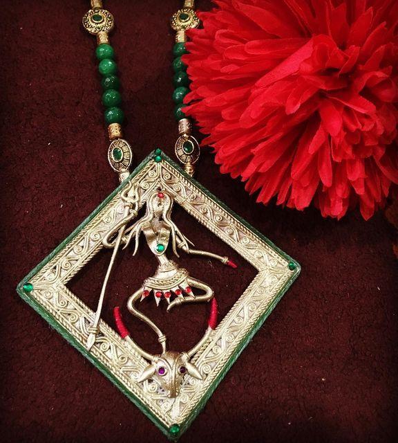 Maa Durga Diamond Dhokra Brass Necklace