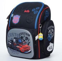 Delune Orthopedic Backpack 3D Blue Car Primary School Bags Kids Boys Waterproof