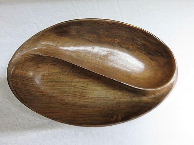 IndicHues Wooden Simple Elegant two section handcrafted bowl from Kashmir