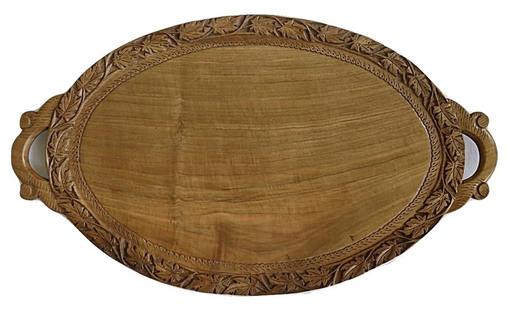IndicHues Wooden Handmade Large Oval Serving Tray with Chinar leaf design from Kashmir