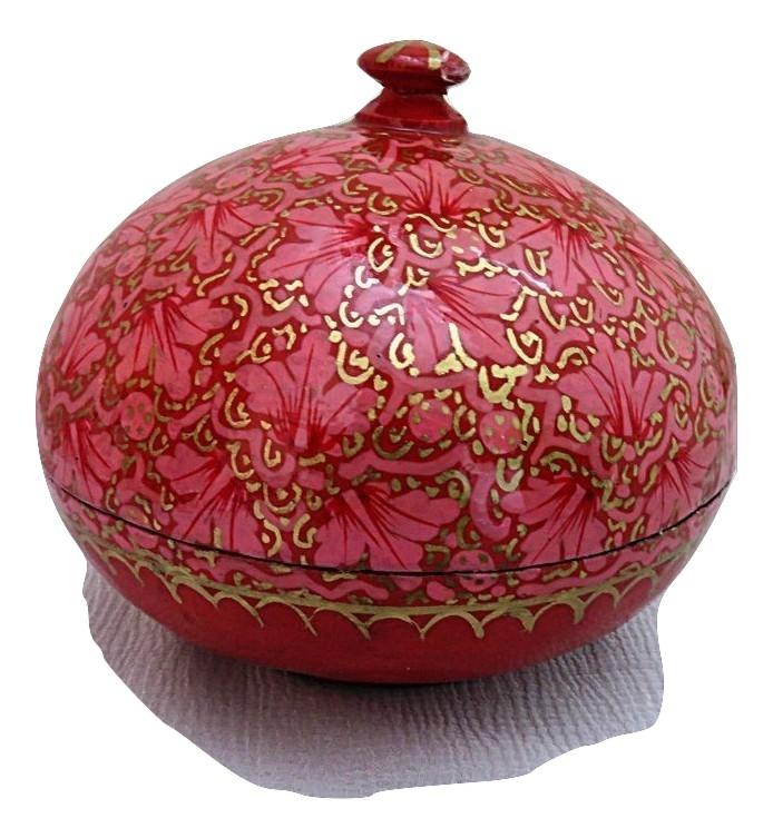 IndicHues handmade Paper Mache Round Jewellery Box from Kashmir