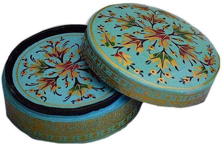 IndicHues Floral Handpainted Round Paper Mache Coaster set