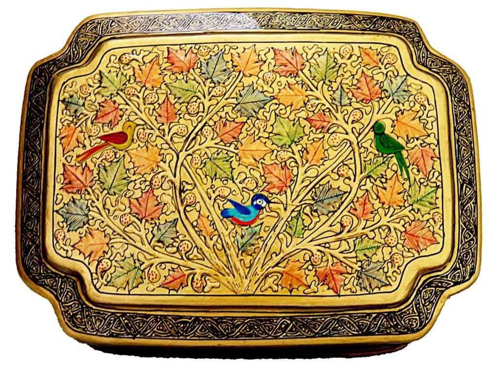 IndicHues Handpainted Golden Paper Mache Jewelry Box with Velvet lining  from Kashmir