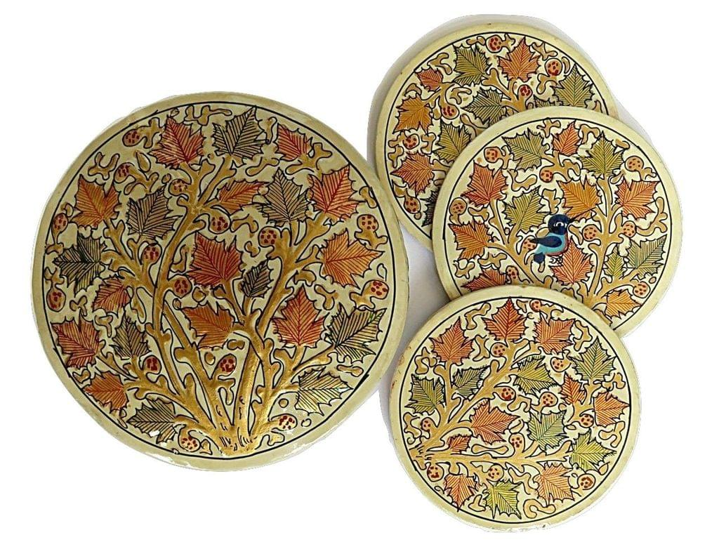 IndicHues Handpainted Paper Mache Coaster set in a Raised Design