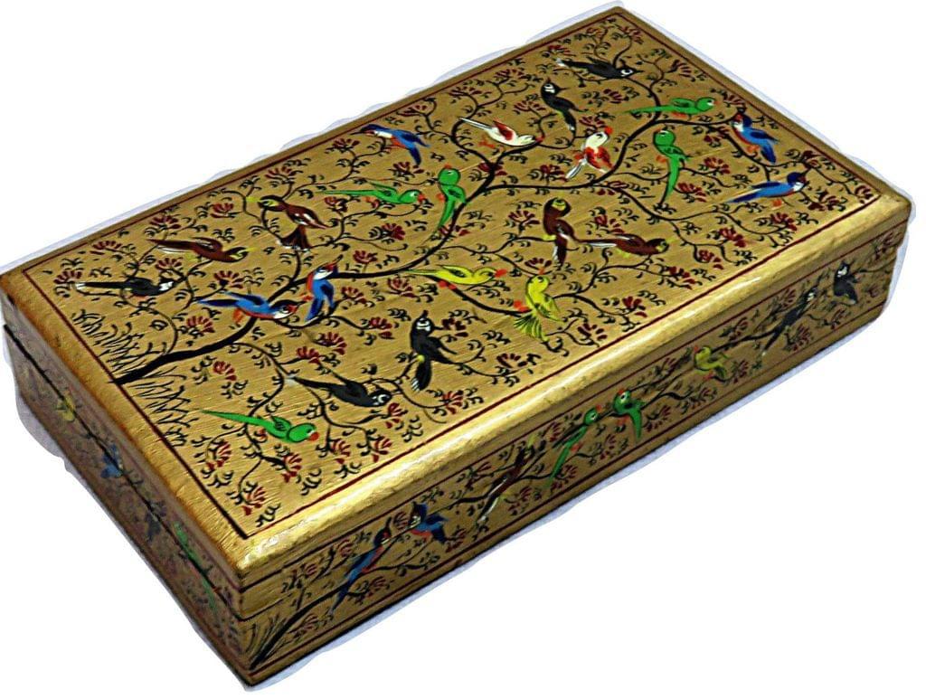 IndicHues Handpainted Rectangular Golden Paper Mache Jewelry Box from Kashmir