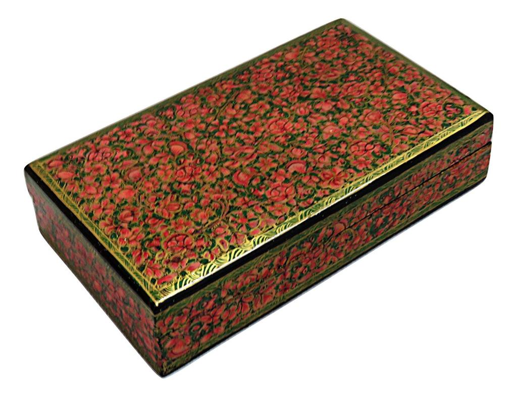 IndicHues Handpainted Rectangular Pink Floral Motif Paper Mache Jewelry Box from Kashmir