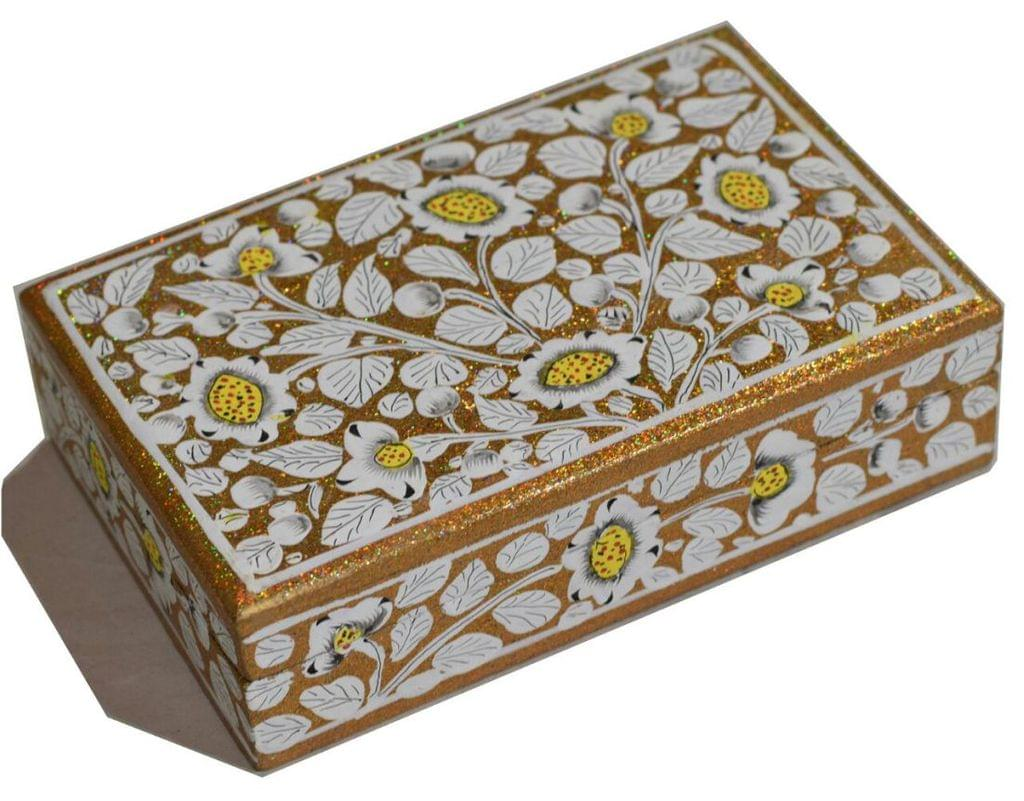 IndicHues Handpainted Paper Mache Trinket Jewelry Box from Kashmir