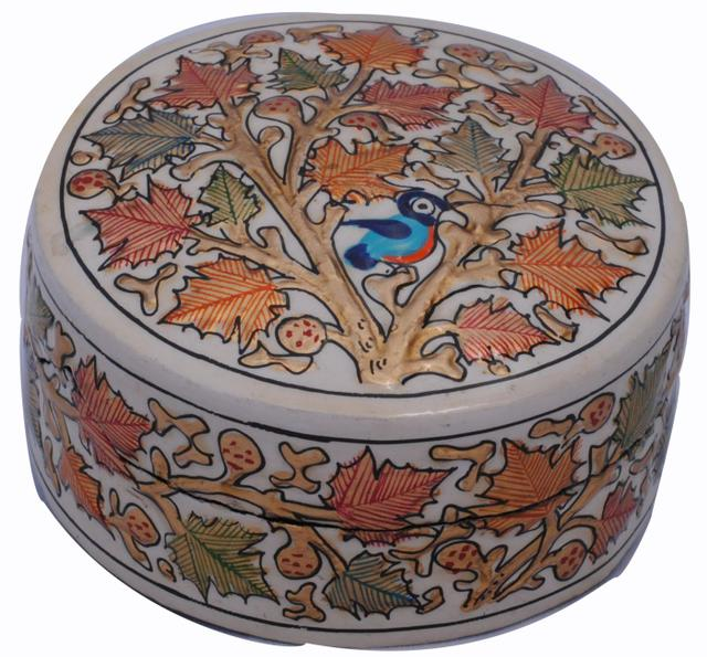 IndicHues Decorative Handpainted Round Paper Mache Trinket Jewelry Box