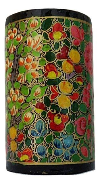 IndicHues Handmade Paper Mache Pen Stand with Floral Motif from Kashmir